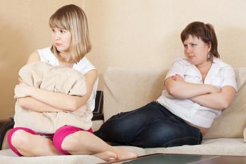 women after quarrel at home