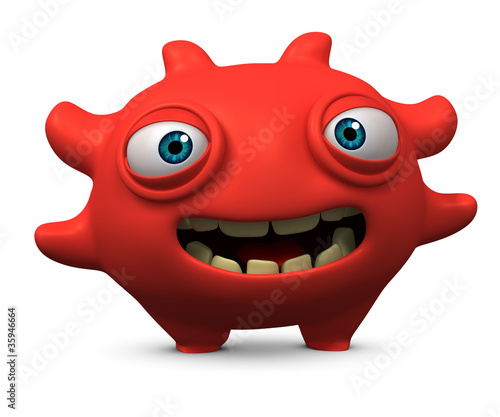 Leinwanddruck Bild happy red virus