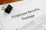 Closeup of an employee benefit package poster