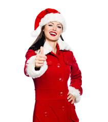 Weihnachtsfrau macht Topdaumen