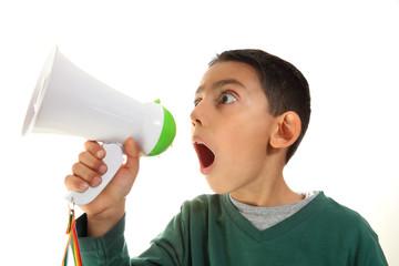 kid shout in megaphone
