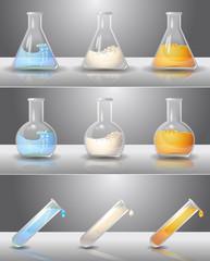 Laboratory flasks with liquids inside