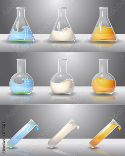 Laboratory flasks with liquids inside