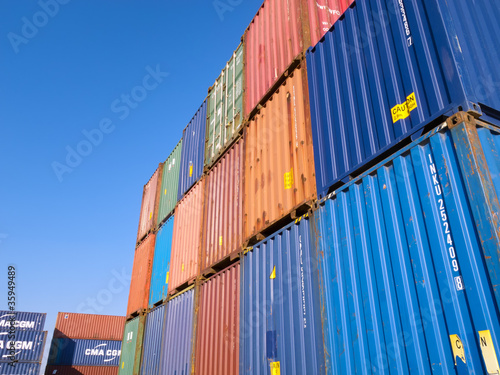 Containers in a ship yard