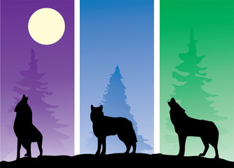 vector wolves silhouettes