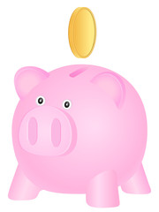piggy bank and gold coin