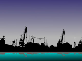 Silhouette of port in the evening