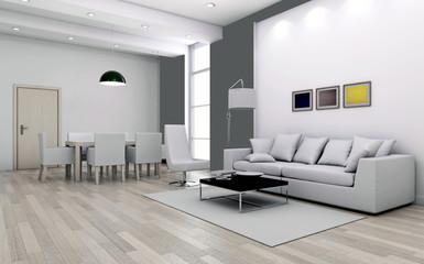 Interno con divani e finestra rendering 3d