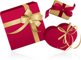 Presents with ribbons, red , gold colors. Vector