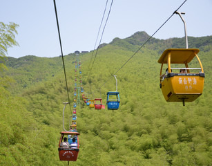 cable car and bamboo