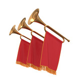 Fototapety Three trumpets with a red  banners flags pennants.