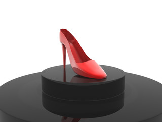 A red women's high heel shoe