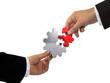 Hände und Zahnrad - Puzzle