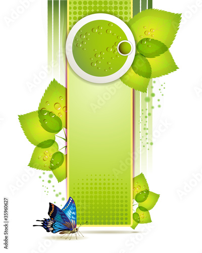 Banner design with leaf and drops