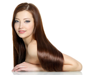 Beautiful fashion woman with long straight hairs - on white