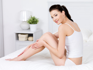 Woman with perfect beautiful legs - indoors