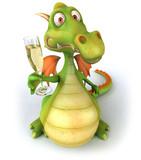 Fototapety Dragon et champagne