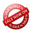 """SALE NOW ON"" Marketing Stamp (special offers sticker price tag)"