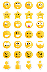 Collection of smiles of yellow persons