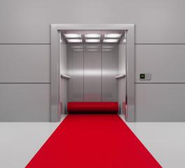 Aufzug mit ausgerolltem roten Teppich
