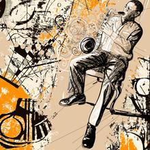Saxofonista sobre un fondo grunge
