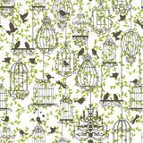 Birds and cages vintage pattern