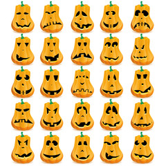 Set of pumpkins isolated on white, vector illustration
