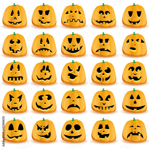Halloween pumpkins with mouths, eyes and noses