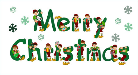 Merry christmas sign with elves