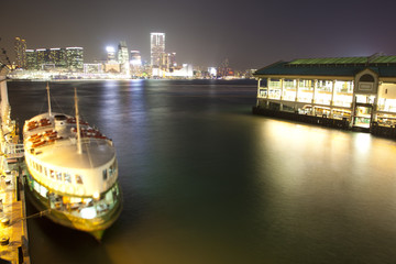 passenger boat at hong kong waterfrot