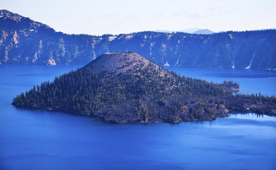 Wizard Island Crater Lake Blue Sky Oregon