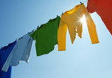 Fototapety Colorful clothes on a laundry line and sun shining