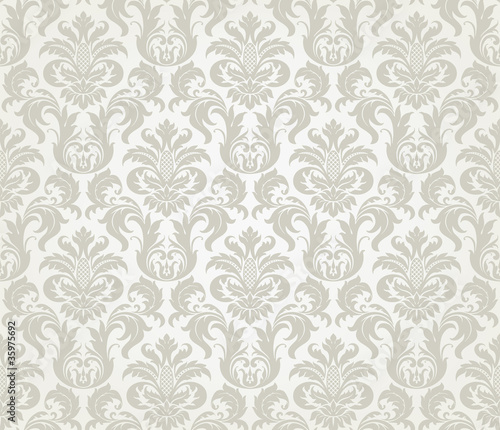 Vector seamless floral damask pattern