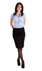 Smiling full length businesswoman isolated on white