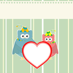 cute owl holding red love heart card vector background