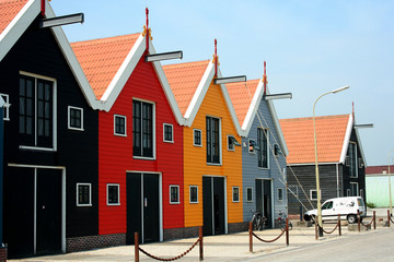 Warehouses at the harbour of  the Dutch village of Zoutkamp
