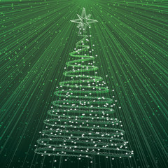 Christmas tree on green background - card with rays of light