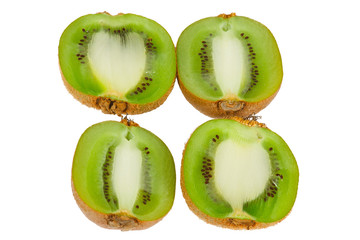 Ornament of the halves of fresh kiwi fruit on a white background