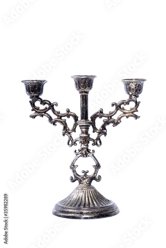 Old Tarnished Candleabra on White