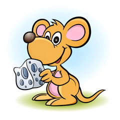 mouse with a piece of cheese!