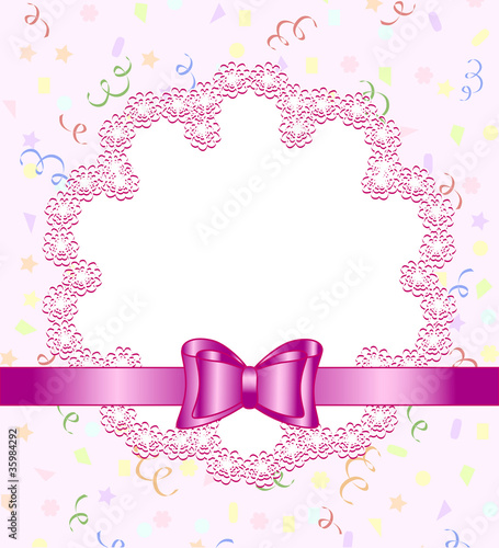 Vector illustration of a frame of flower with bow on birthday th
