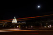 US Capitol building with car lights trails in moonlight