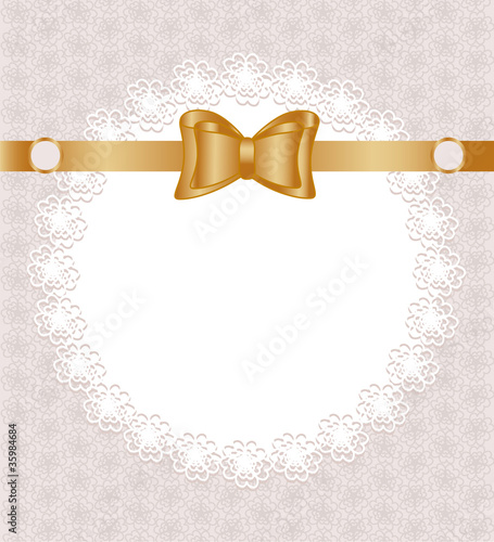 Vector illustration of a lace napkin with bow on floral pattern