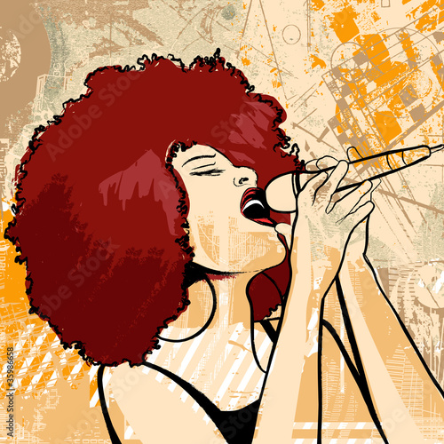 Fridge magnet jazz singer on grunge background