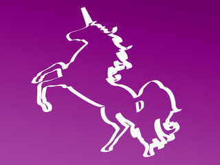 Unicorno in silhouette