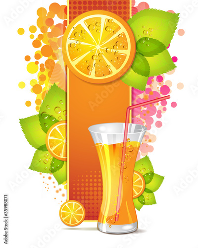 Glass of orange juice with slices orange