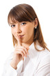 Business woman keeping finger on her lips, isolated