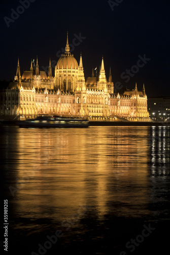Hungarian parliament at night, Budapest