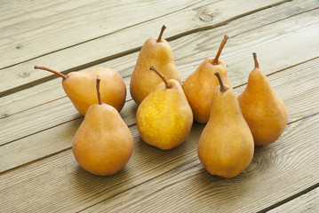 pears on wooden table