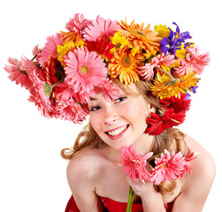 Young woman with  with flowers on her  hair.